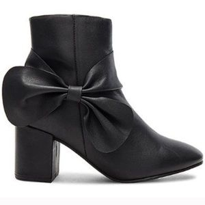 NWB Anthropologie Seychelles Black Bow Ankle Boots